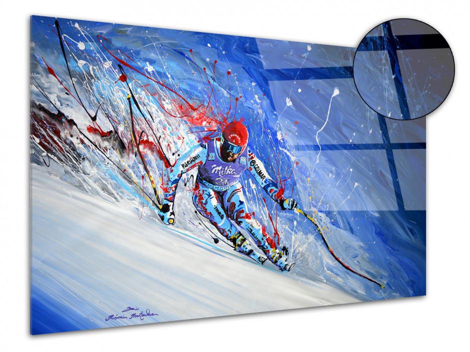 Reproduction peinture sur plexiglas imprimée Skieur