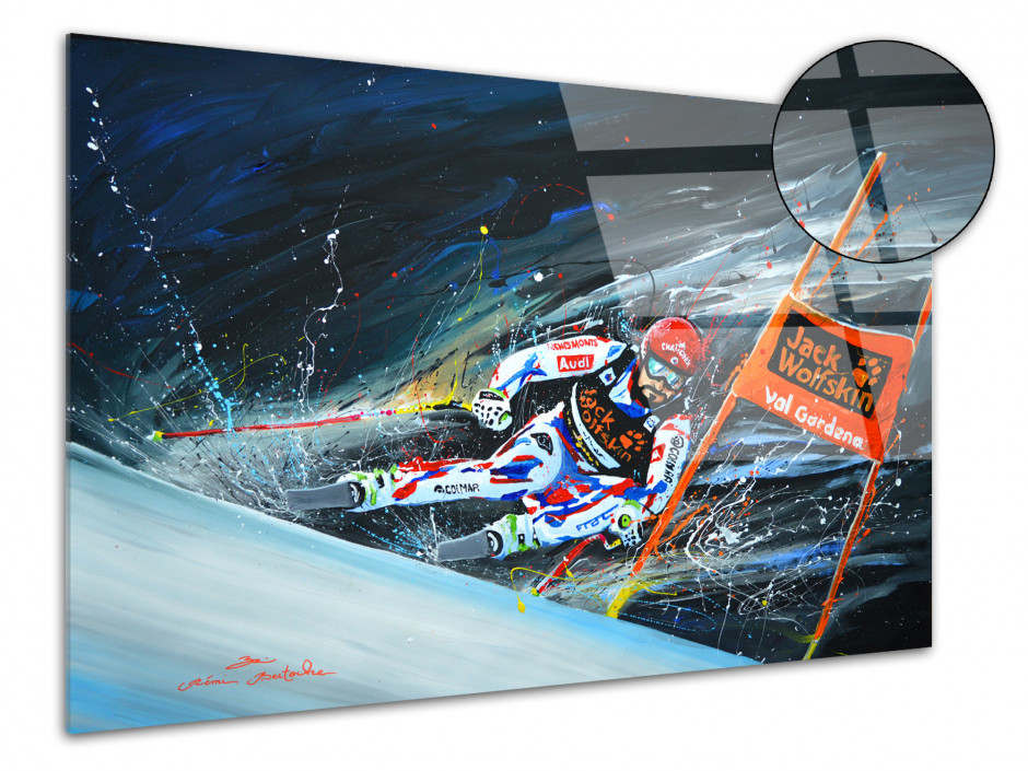 Tableau déco peinture reproduit sur plexiglas Skieur Pro