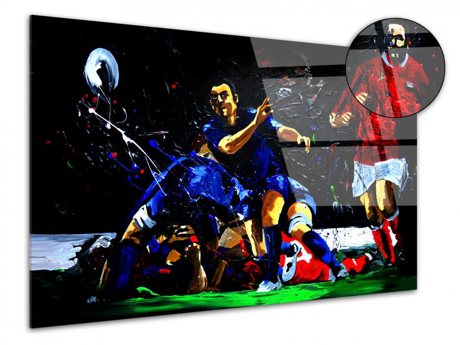 Tableau reproduit sur plexiglas Rugby Ejecteur Peinture Rémi Bertoche