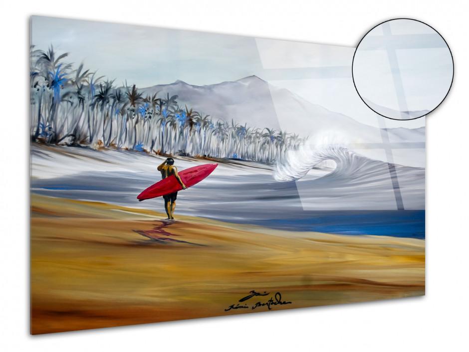 Tableau Red Single reproduction peinture Rémi Bertoche sur plexiglas imprimée