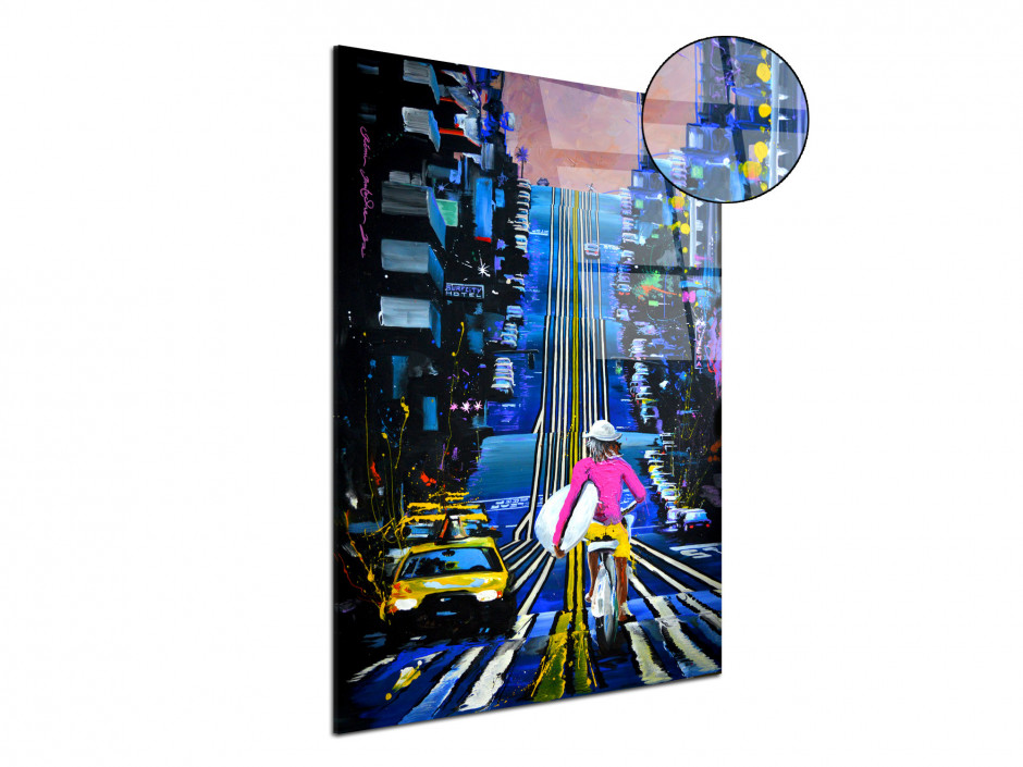 Tableau peinture Rémi Bertoche Urban rider reproduction sur plexiglas imprimée
