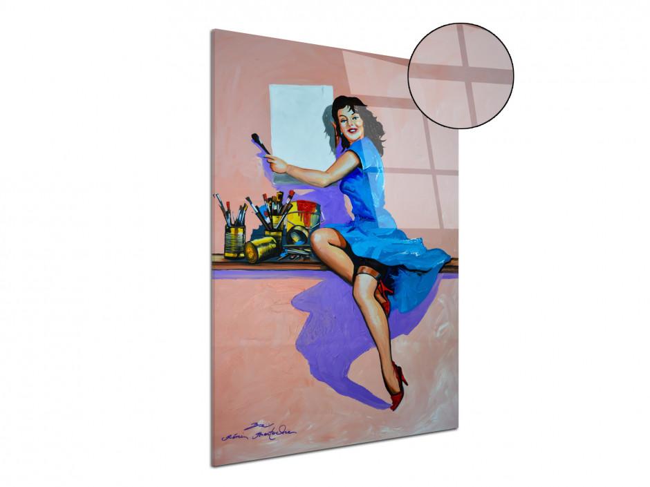 Reproduction peinture sur plexiglas imprimée Pin Up