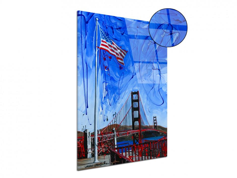 Tableau décoratif US flag peinture reproduction sur plexiglas imprimée