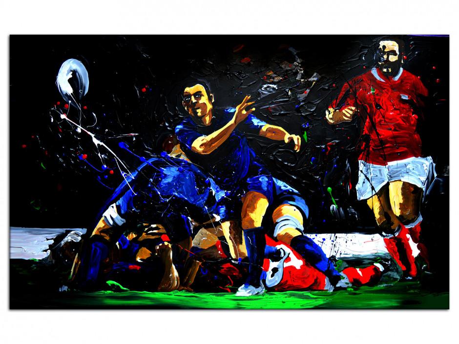 Tableau reproduit sur Aluminium Rugby Ejecteur Peinture Rémi Bertoche