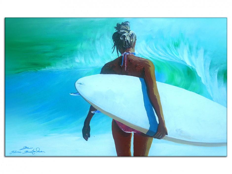 Tableau déco reproduction sur Aluminium Rémi Bertoche Surfer Girl