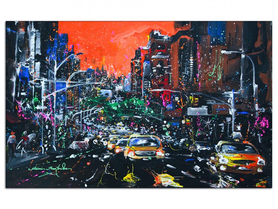 Tableau City Fire reproduction peinture sur Aluminium