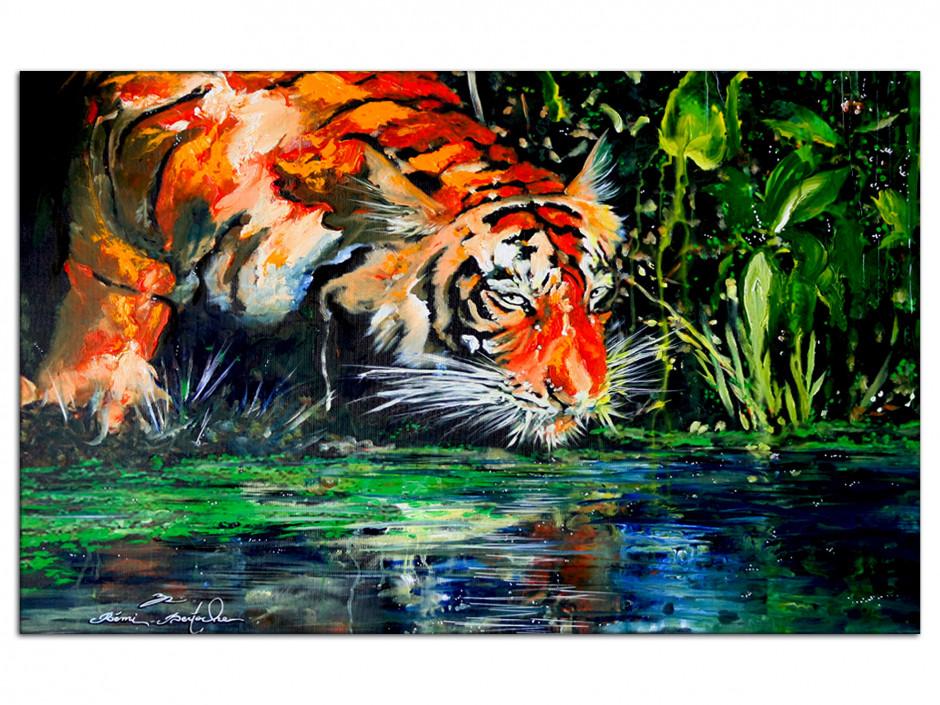 Tableau reproduction sur Aluminium eye of the tiger par Rémi Bertoche