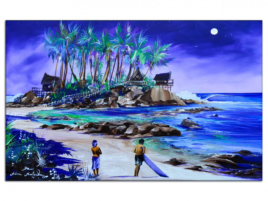 Tableau reproduction peinture sur Aluminium Lady Full Moon