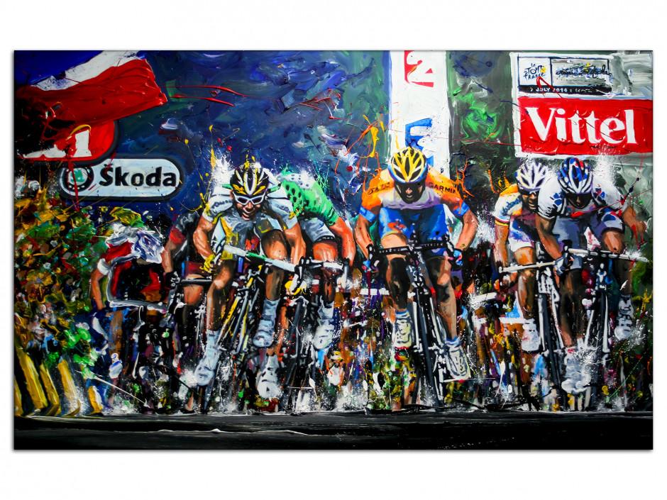 Tableau Dibond Tour de France reproduction peinture Artiste Rémi Bertoche