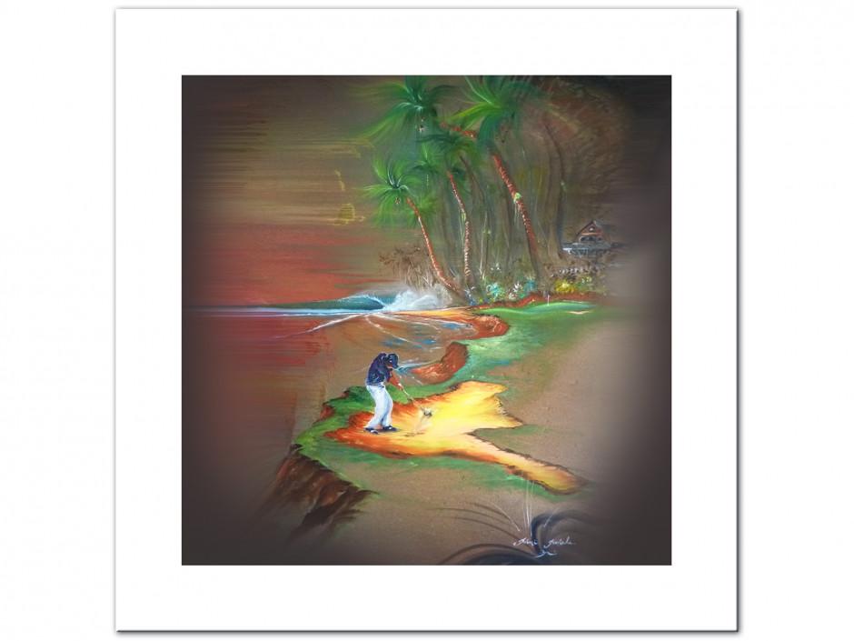 Tableau golf ambiance reproduction Peinture Rémi Bertoche sur Dibond