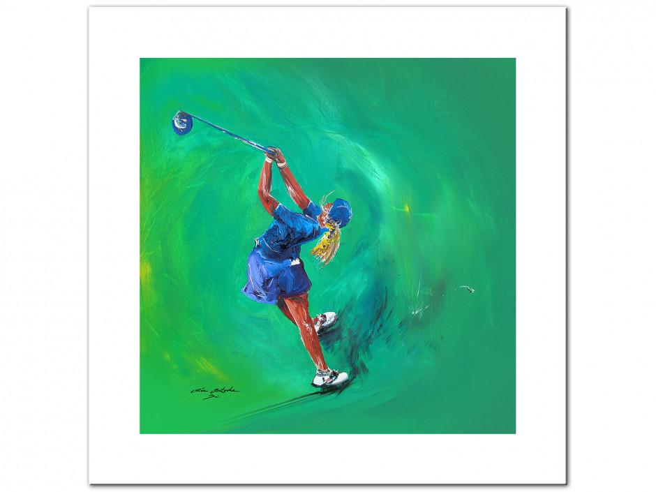 Tableau décoratif Golf Girl reproduction sur Dibond peinture Rémi Bertoche