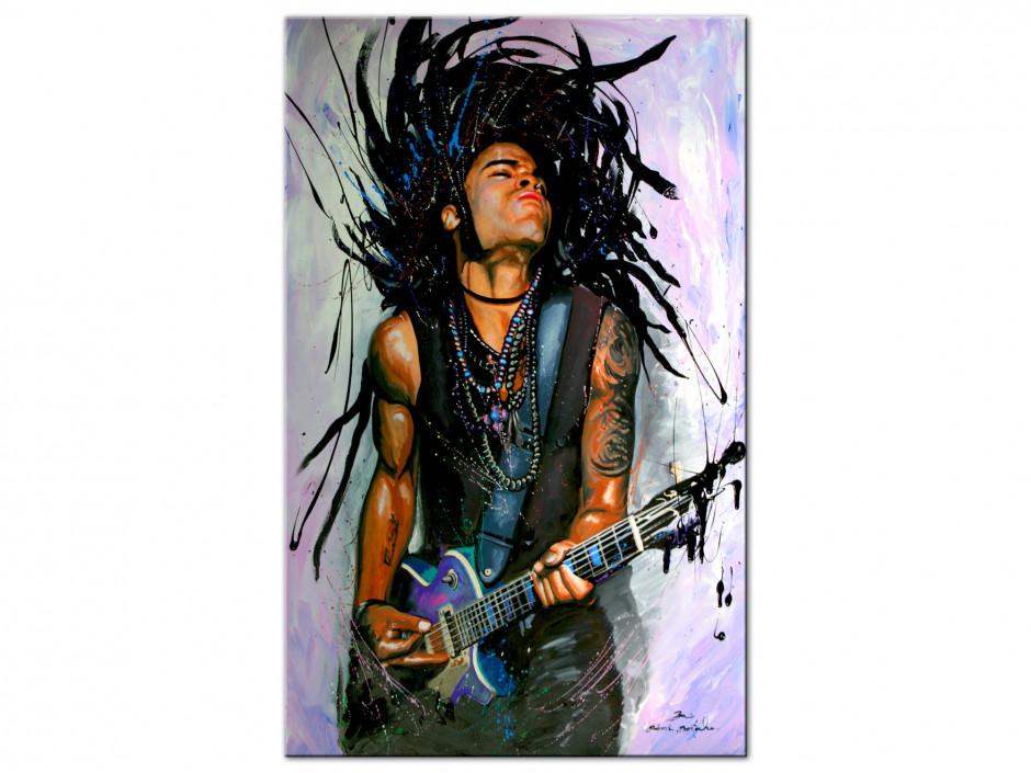 Tableau reproduction peinture Lenny Kravitz sur Aluminium imprimée