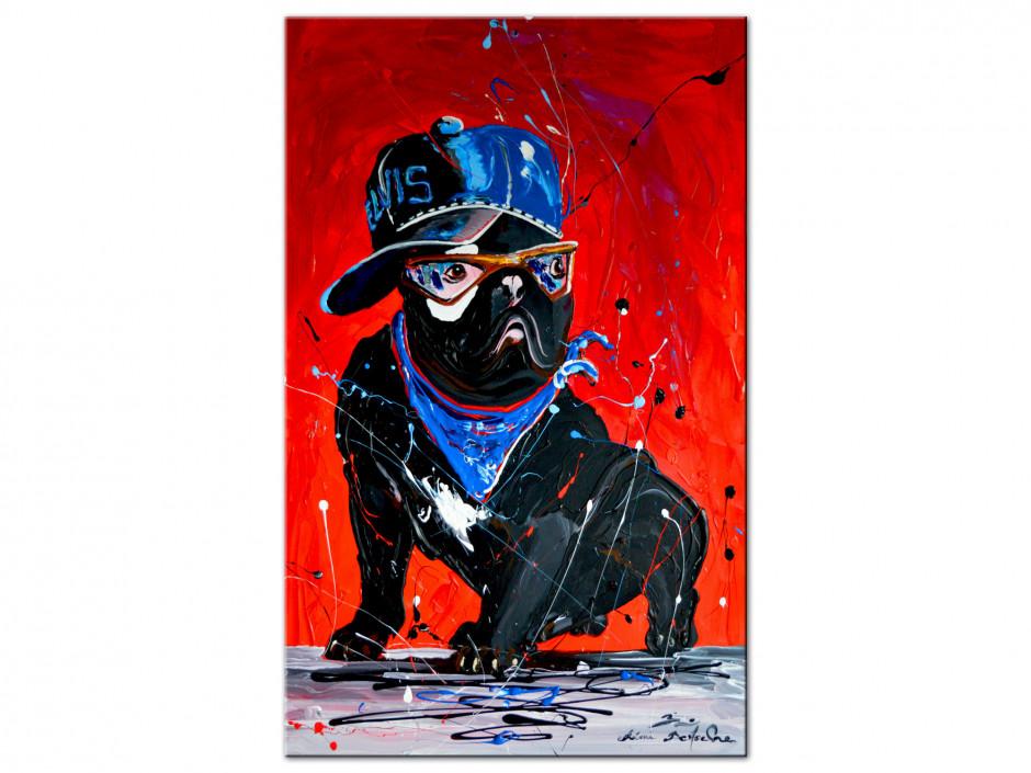 Tableau Rémi Bertoche rock'n roll dog reproduction sur Aluminium
