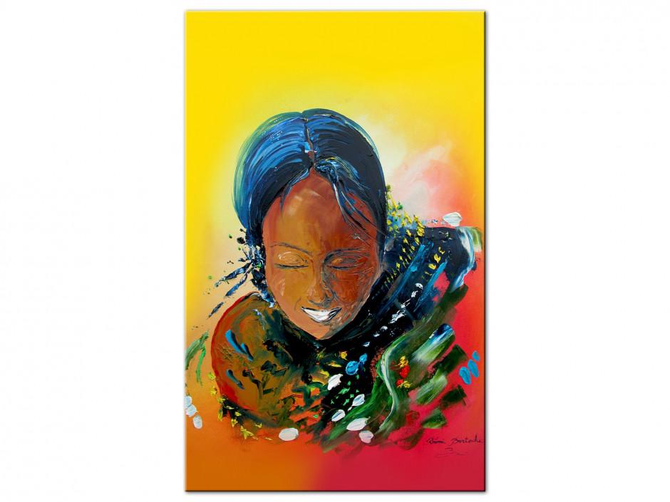 Tableau peinture Rémi Bertoche Tahiti girl reproduction sur Aluminium
