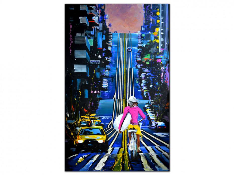 Tableau peinture Rémi Bertoche Urban rider reproduction sur Aluminium imprimée