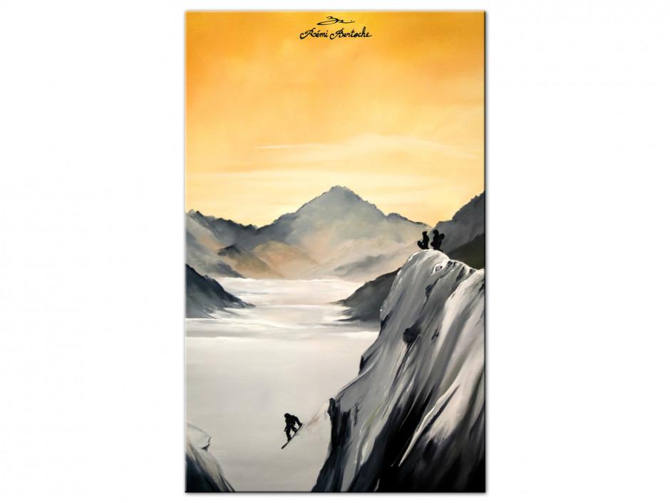 Tableau Snow Session reprodcution peinture sur Aluminium imprimée