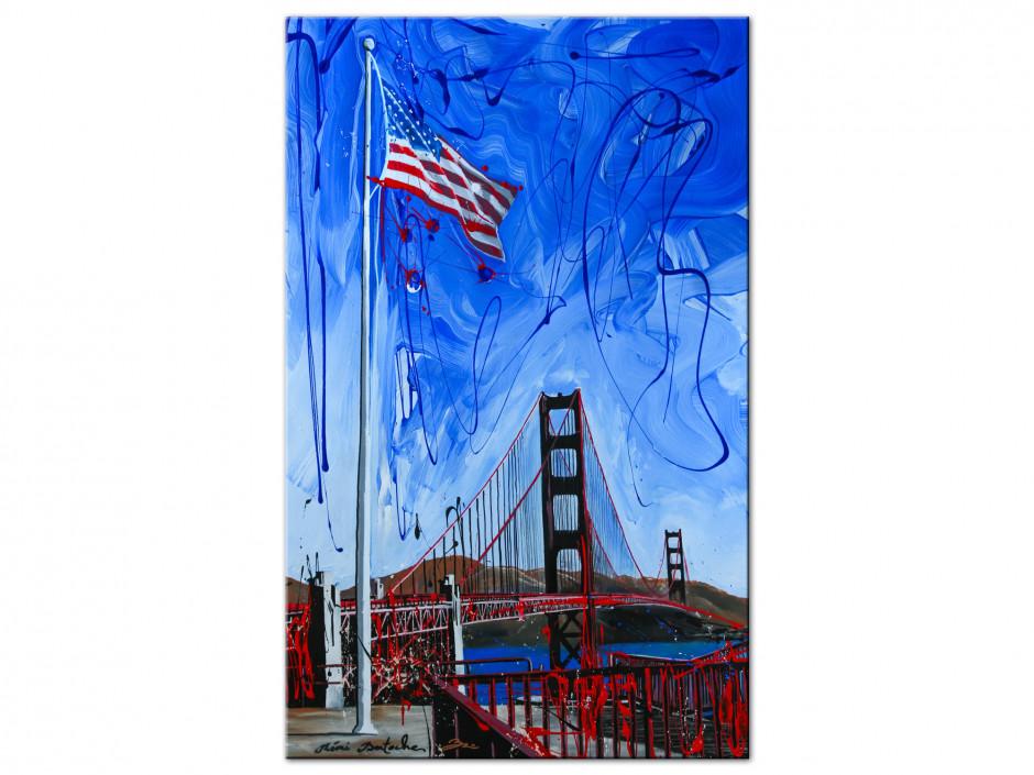 Tableau décoratif US flag peinture reproduction sur Aluminium imprimée