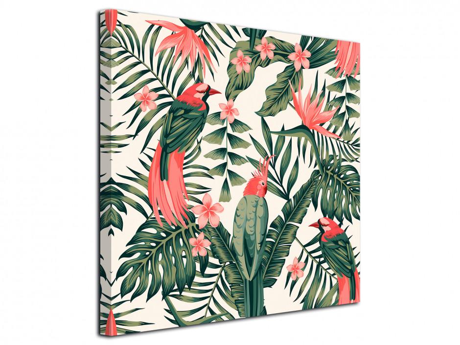 Tableau toile déco vintage oiseaux et végétation