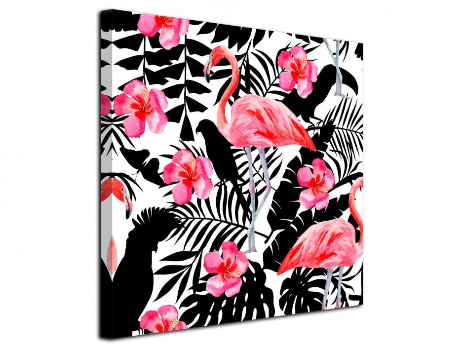 Tableau toile déco flamant rose et perroquet
