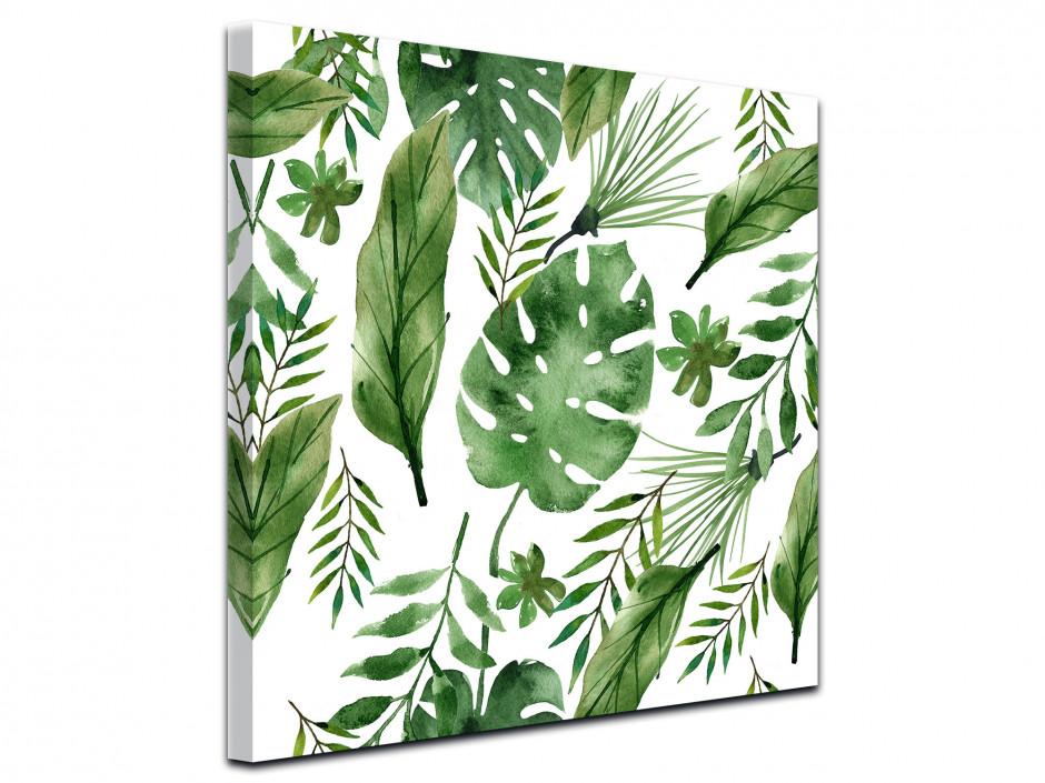 Tableau toile décoration salon fleurs tropicales