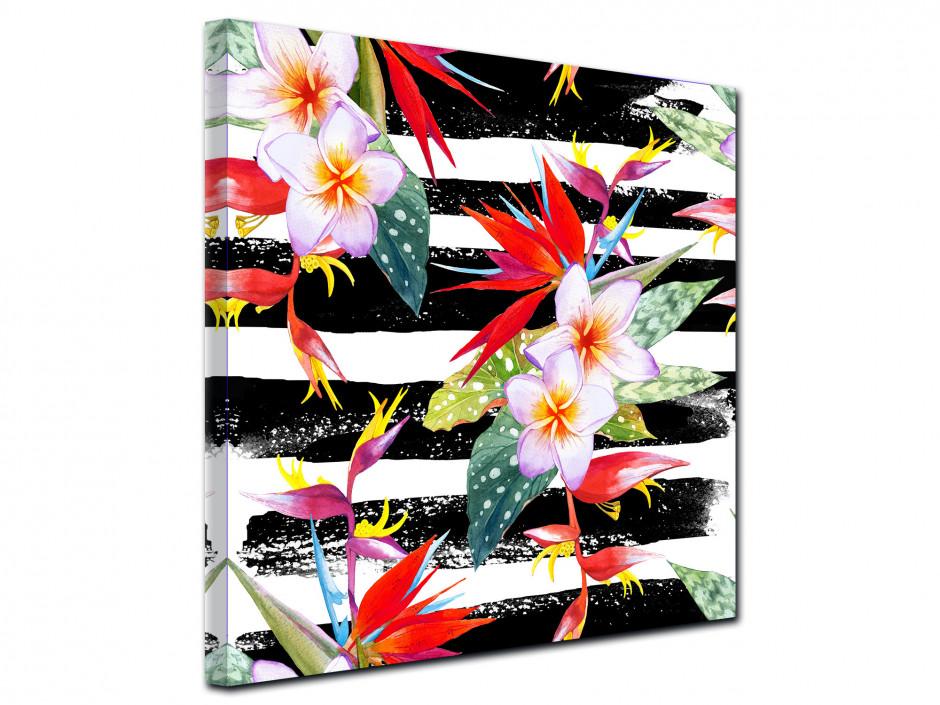 Tableau toile fleurs tropicales colorées