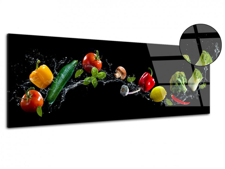 Tableau plexiglas panoramique cuisine Les Légumes