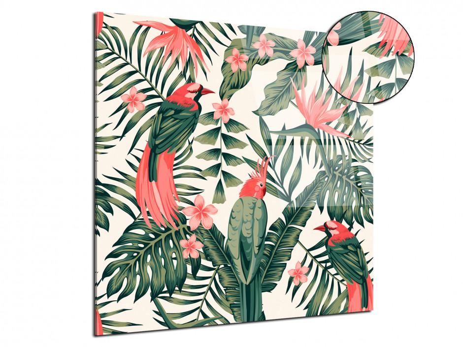 Tableau plexiglas déco vintage oiseaux et végétation