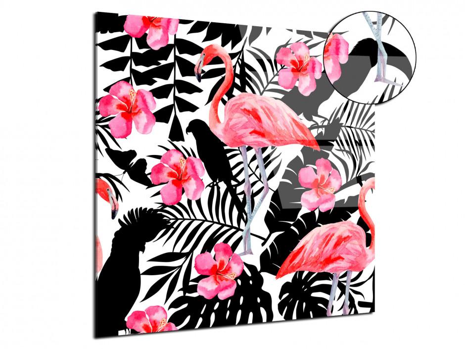 Tableau plexiglas déco flamant rose et perroquet