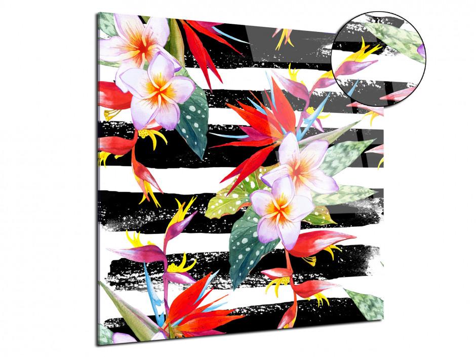 Tableau plexiglas fleurs tropicales colorées