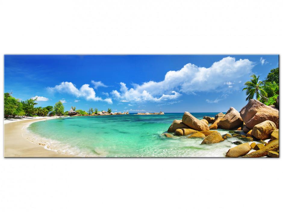 Tableau Aluminium décoratif panoramique Seychelles