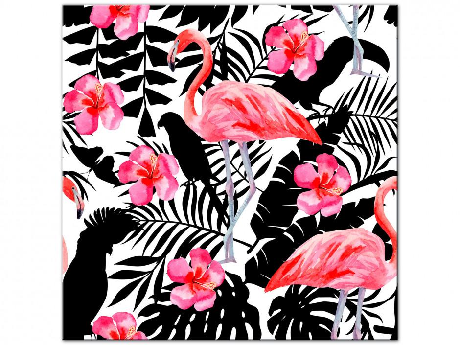 Tableau Aluminium déco flamant rose et perroquet