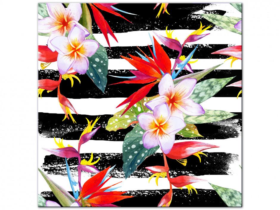 Tableau Aluminium fleurs tropicales colorées
