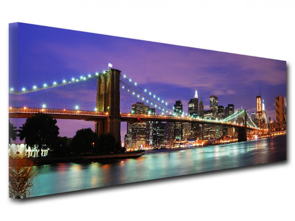 Tableau Toile déco panoramique brooklyn bridge