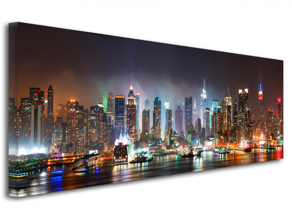Tableau toile décoratif panorama New York by Night