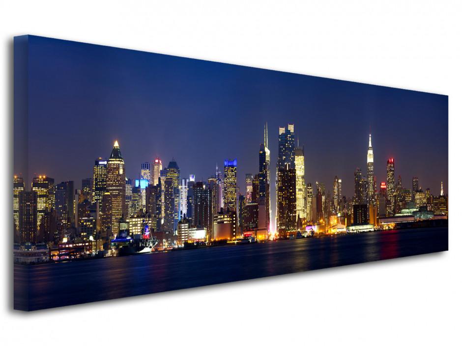 Tableau toile panoramique Manhattan de nuit
