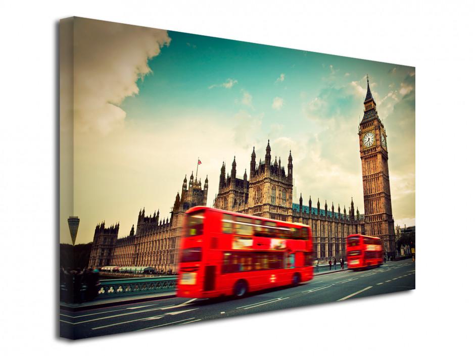 Tableau toile Big Ben et bus rouge