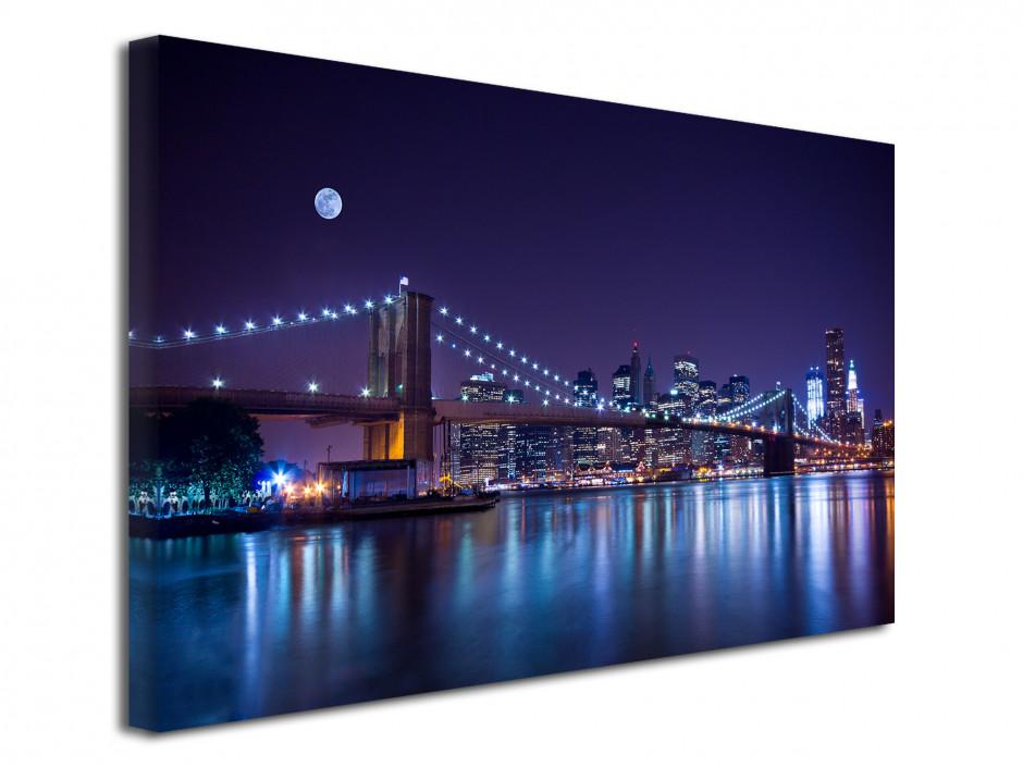 Tableau toile photo déco pont de Brooklyn de nuit