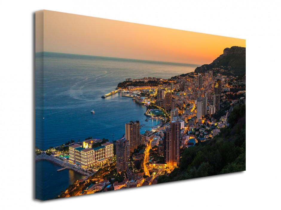 Tableau toile photo déco coucher de soleil sur Monaco