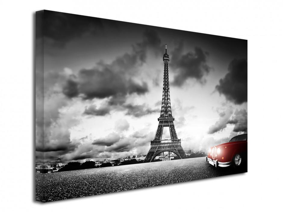 Tableau toile photo Paris tour Eiffel et voiture rouge