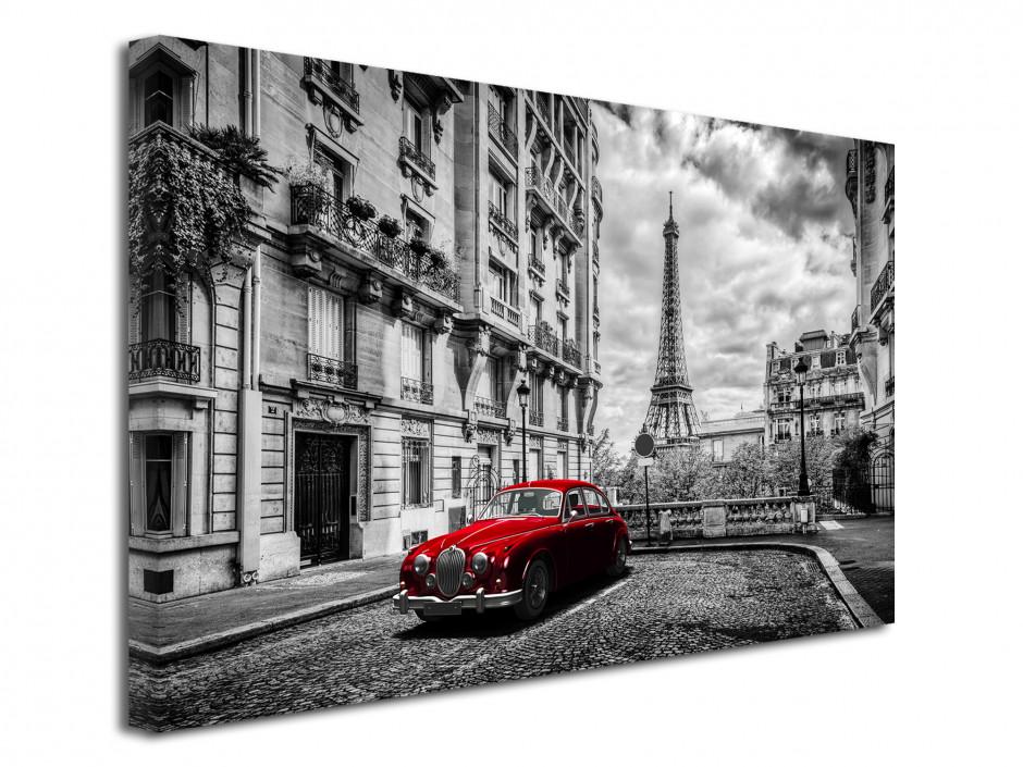 Tableau toile déco Paris noir et blanc et vieille voiture