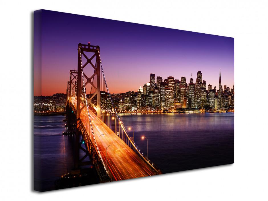 Tableau toile coucher de soleil sur le pont de San Francisco