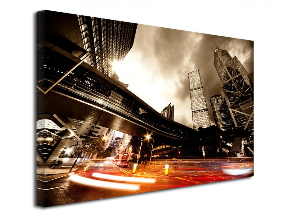 Tableau toile photo pause longue sur le trafic urbain
