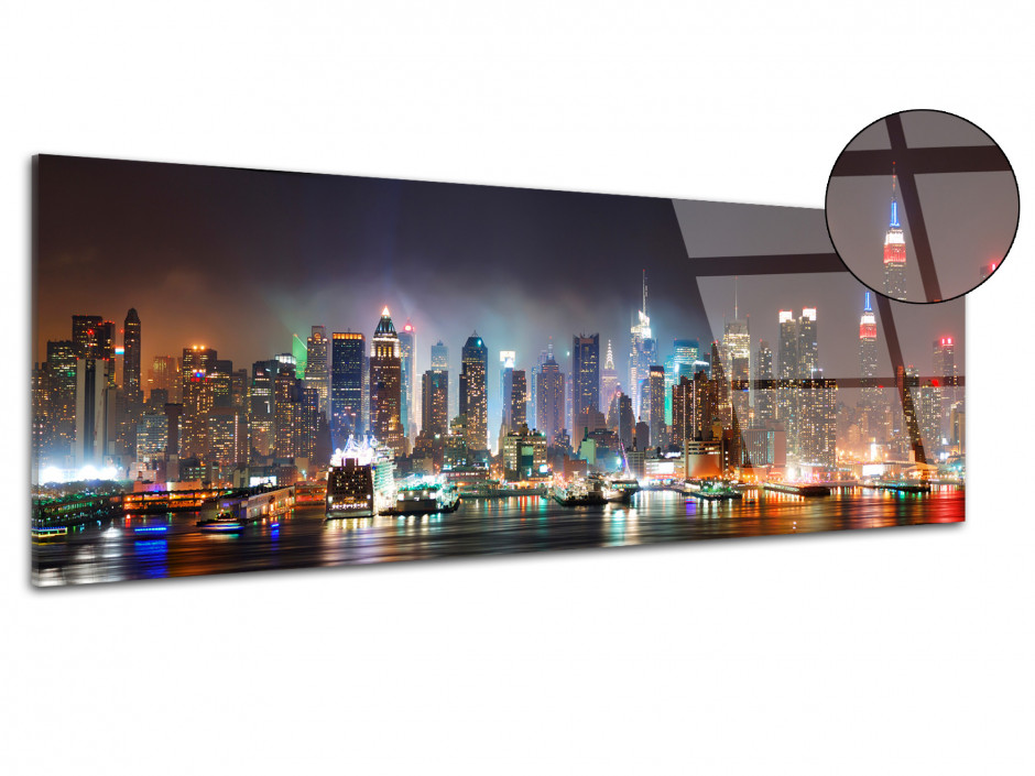 Tableau plexiglas décoratif panorama New York by Night