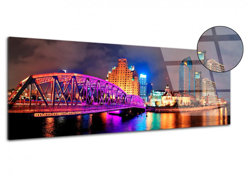 Tableau plexiglas panoramique Pont Waibaidu Shanghai