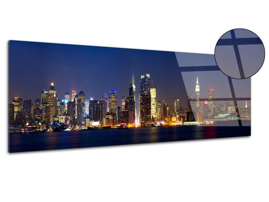 Tableau plexiglas panoramique Manhattan de nuit