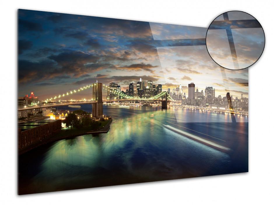 Tableau deco plexiglas coucher de soleil sur New York