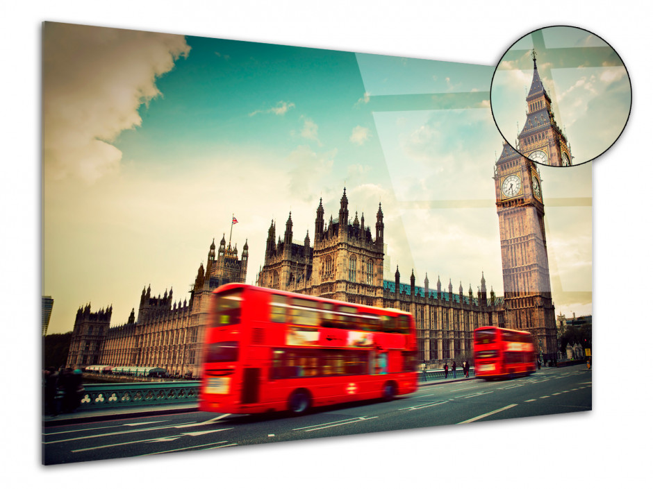 Tableau plexiglas Big Ben et bus rouge