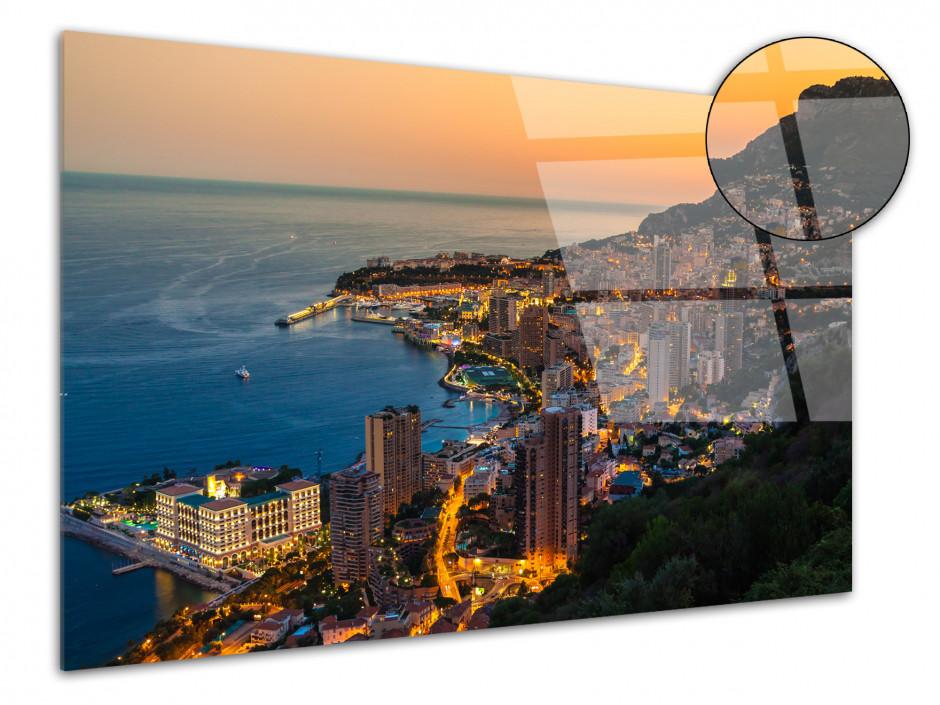 Tableau plexiglas photo déco coucher de soleil sur Monaco