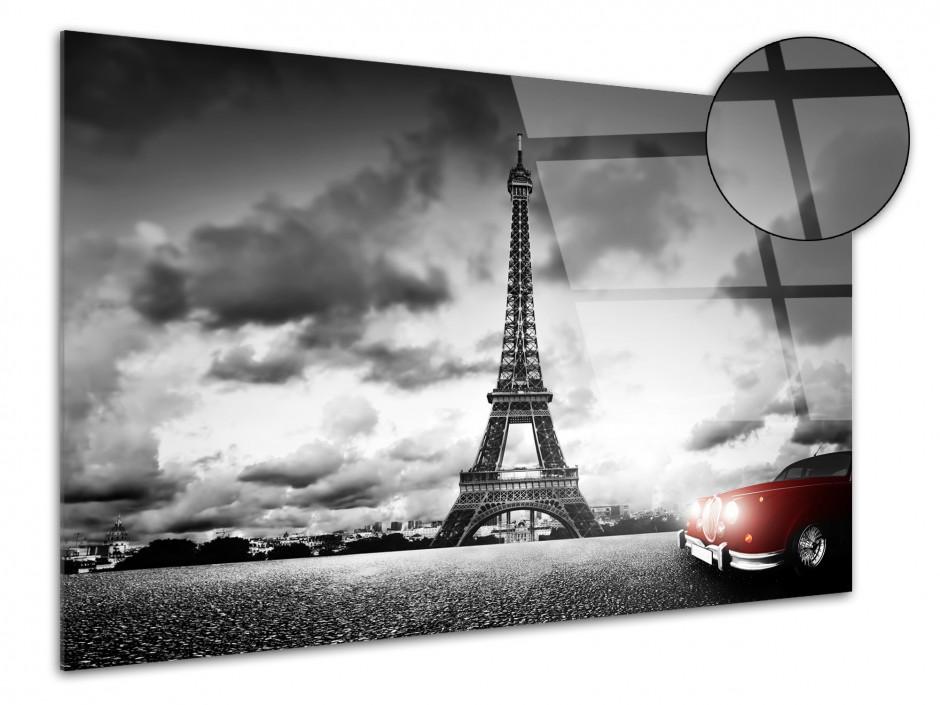 Tableau plexiglas photo Paris tour Eiffel et voiture rouge