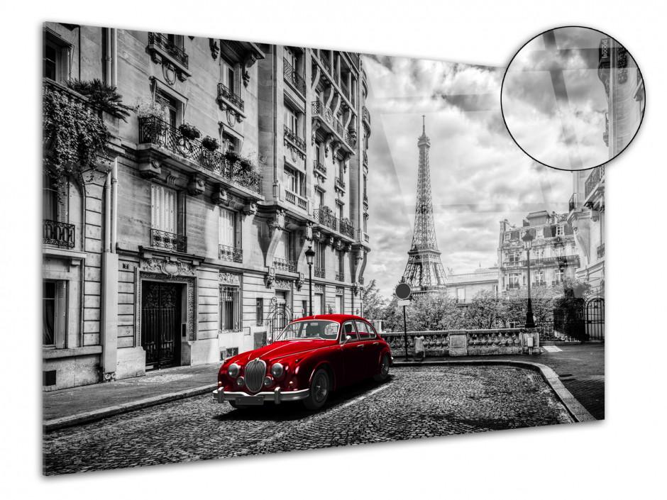 Tableau plexiglas déco Paris noir et blanc et vieille voiture